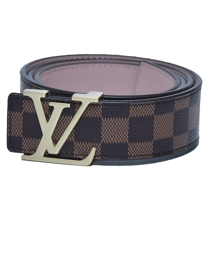 3d3ba3aac69 Louis Vuitton Brown Belt with Golden Buckle Stripe Design