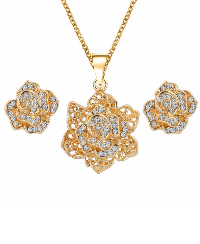 New Design Flower Gold Plated Austrian Crystal Jewelry Set