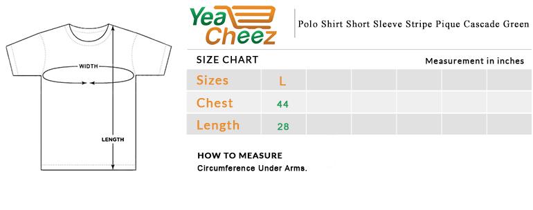Polo Shirt Short Sleeve Stripe Pique Cascade Green