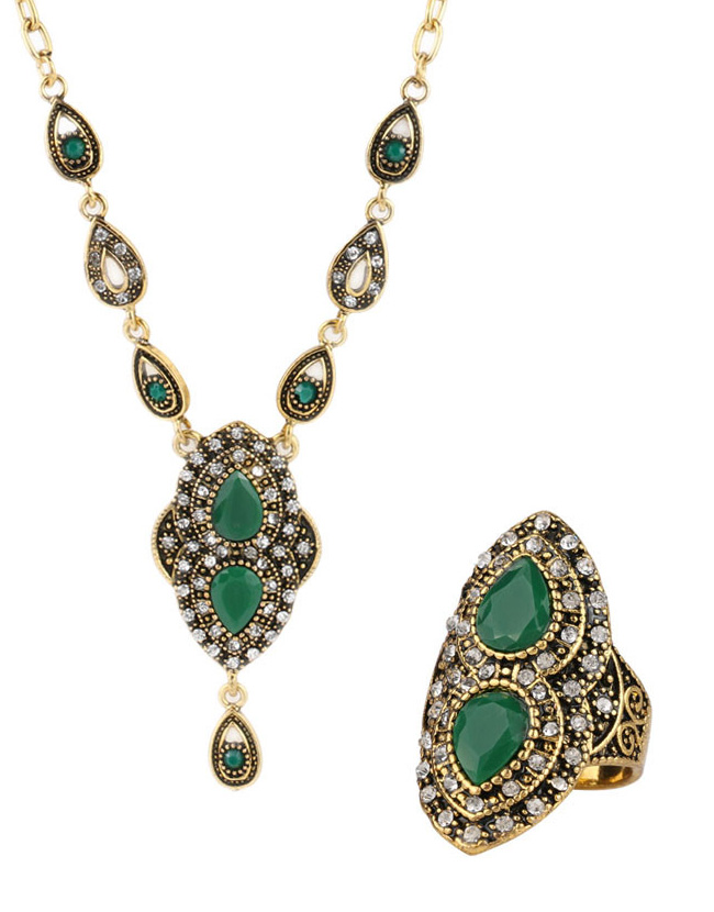 Turkey Retro Gold Jewelry Set Necklace And Earrings For Women