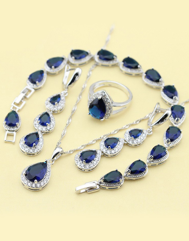 ccd9fe5a6a34b Silver Jewelry Sets Blue Sapphired Flawless  Necklace/Rings/Earrings/Bracelet For women