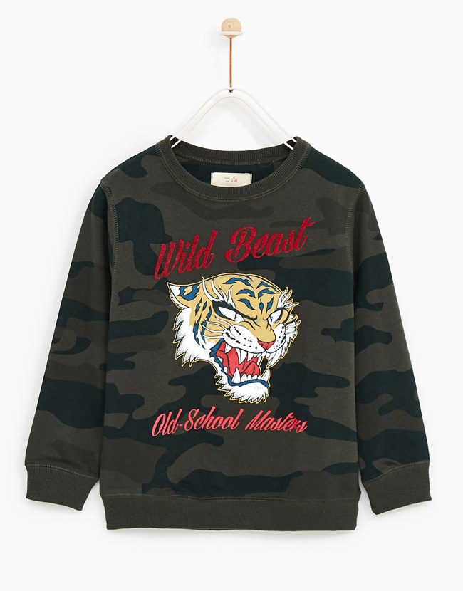 5f7ff26c Zara Wild Beast Camouflage Sweatshirt