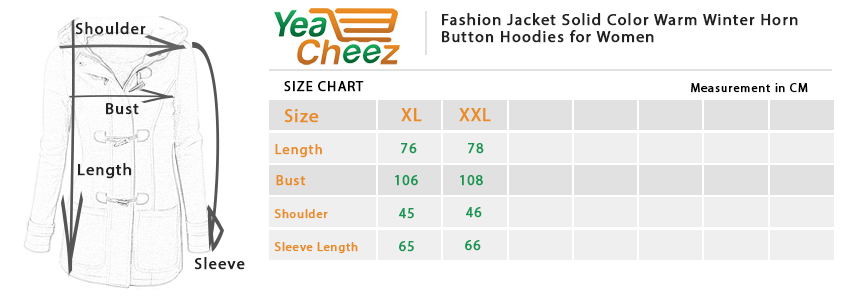 Fashion Jacket Solid Color Warm Winter Horn Button Hoodies for Women