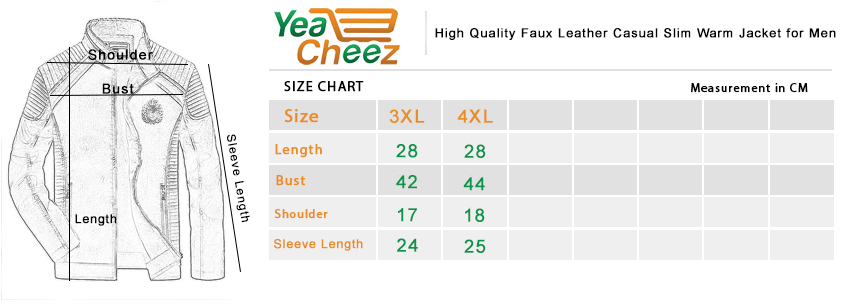 High Quality Faux Leather Casual Slim Warm Jacket for Men