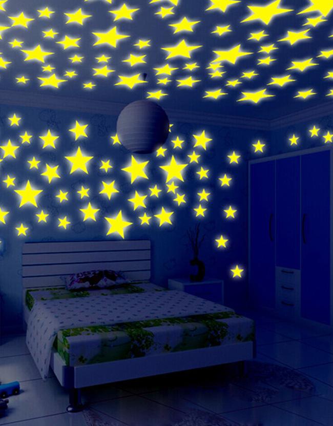 kids bedroom stars fluorescent glow in the dark wall sticker