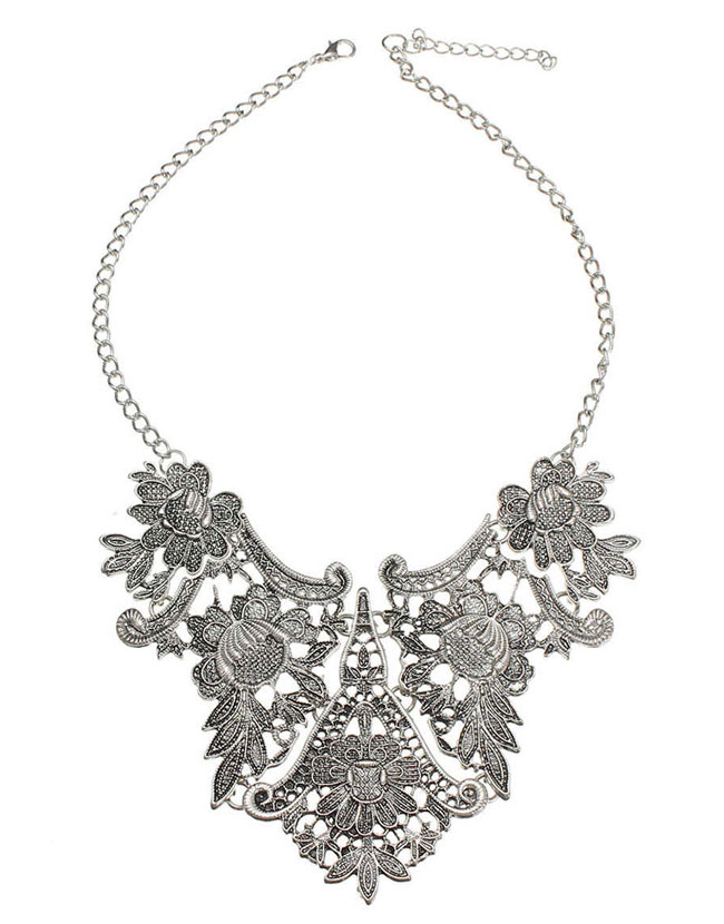 022f80e28 Vintage Bib Statement Flower Pendant Necklace Collar Silver ...